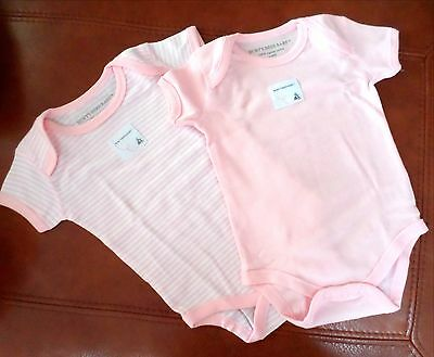 Burt's Bees Baby Girls 2 Pack Organic Cotton Bodysuits Pink/White 3-6 Months