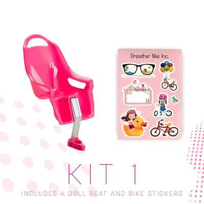 Pink Bike Doll Carrier Seat Attachment with Stickers Cute Fun Kids Bike Accessor
