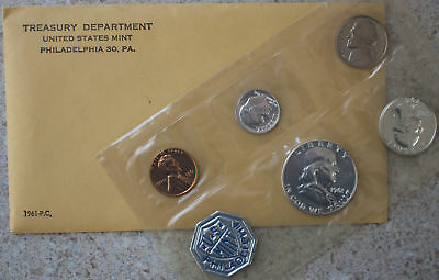 1961 US 5 Coin Proof Set Silver Coins and Envelope Philadelphia Mint