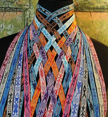 Mexican Ribbons or Hat Bands with dolls on the ends Hand Woven Jalieza Oaxaca