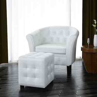 Artificial Leather ARMCHAIR w / FOOTREST Sofa Recliner Couch Tub Chair&Stool Set