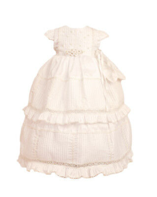 White Ivory Baby Flower Girls Dress Christening Baptism Gown Bonnet Dedication