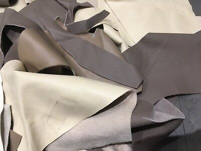 3 Kilo Bag Italian Soft Real Leather Remnants,Scraps and Rejects - Beige/Browns