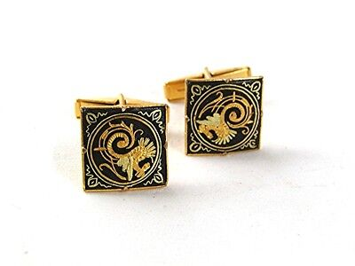 Vintage Goldtone & Black Damascene Cufflinks 6317
