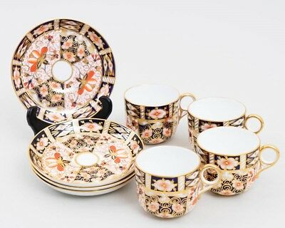 Royal Crown Derby 'Traditional Imari' China: Set of 4 Flat Cups & Saucers 2451