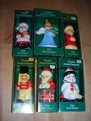 Lot of 6 GOEBEL Annual Ornaments 1978 1979 1980 1981 1982 1983 NIB