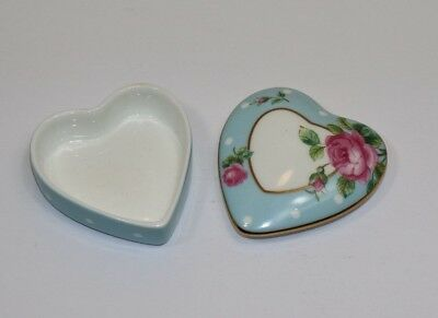 Royal Albert Trinket Ring Box Heart Shaped Blue with Roses