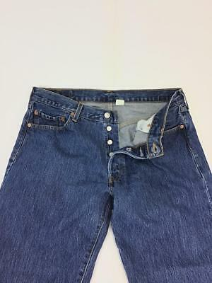 000f45e0 Levis 501 button fly classic straight leg jeans 34 x 29.5 actual