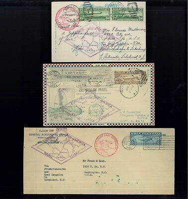 1930 US Air Mail Stamps #C13-C15 Used Graf Zeppelin Set on Flown Covers Postcard