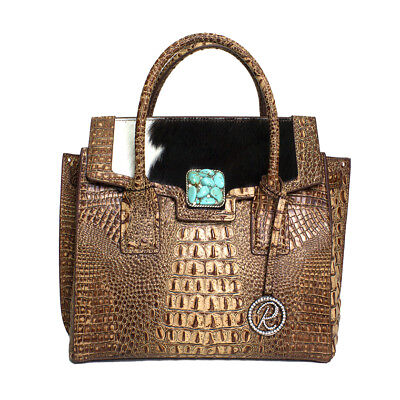 Raviani Satchel Brown Embossed Croco & Hair on Leather W/ Turquoise Stone Concho