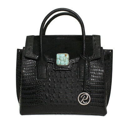Raviani Satchel Black Embossed Croco & Hair on Leather W/ Turquoise Stone Concho
