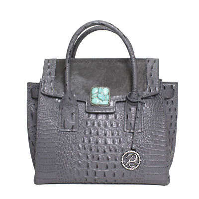 Raviani Satchel Gray Embossed Croco & Hair on Leather W/ Turquoise Stone Concho
