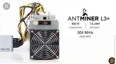 Antminer L3+ Miner - Litecoin ASIC Scrypt - 504MH/s - PSU - FREE USA SHIPPING