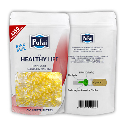 Pufai Cigarette Filters Reusable Compatible 7mm Slender King Sizes 1250 Per Pack