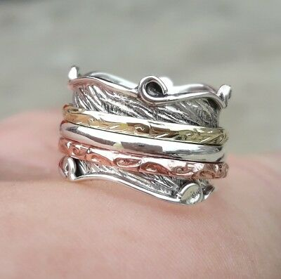 925 Sterling Silver Spinner Ring Meditation Ring Statement Ring All Size aa271""