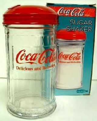 Coca Cola Sugar Shaker Painted metal lid glass containe