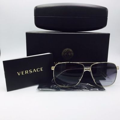 1987f689fb NEW Versace sunglasses VE2174 12528G Pale Gold Gray Gradient AUTHENTIC pilot
