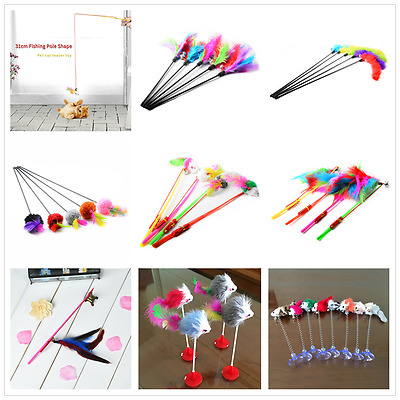 Funny Pet Cat Kitten Teaser Turkey Feather Interactive Toy Bell Wire Chaser Wand