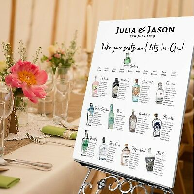 Personalised Wedding TABLE SEATING PLAN/WEDDING SIGN -Gin Theme
