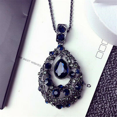Blue/Gray Colors Crystal Water Tear Drop Pendant Necklace Chain Charm Jewelry G