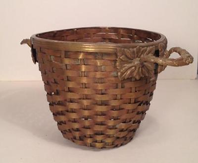 Unusual LARGE Antique Vtg Victorian Heavy Brass Basket Candy Container German