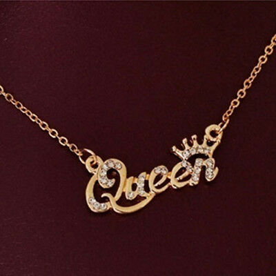 Silver/Gold Luxury Women Ladies Letter Queen Pendant Choker Necklace Jewelry G