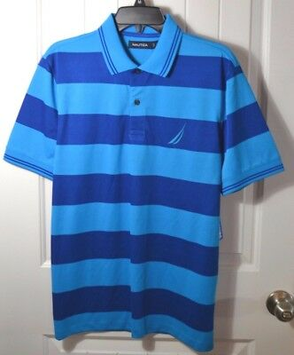 c525189a9d6 Nwt Men's Nautica Blue Striped Key Item Short Sleeve Rugby Polo Shirt Sz M  ...