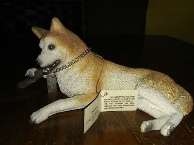 My Dog Figurine Red and White Siberian Husky with Blue eyes