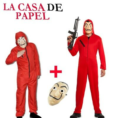 New Salvador Dali La Casa De Papel Money Heist Red Jumpsuit Mask Costume Cosplay