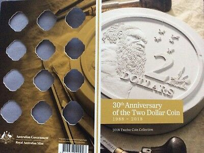 2018 30th anniversary of $2 coin, empty folder. No coins. 12 spaces.