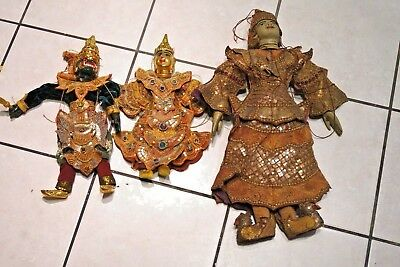 3 Antique Vintage Asian Burmese India  Hand Crafted Marionette Puppet