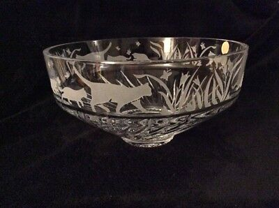 """Lenox Clear Crystal 10"""" Serving Centerpiece Bowl Etched Cats Kittens Butterflies"""