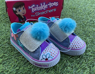 107a690d28d5 Skechers Girl s Twinkle Toes Light Up Shoes Denim Multi Daisy Days Cute  Sneakers