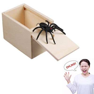 Funny Prank Spider Wooden Scare Box Home Office Joke Gag Toy Kids Adult Toy New
