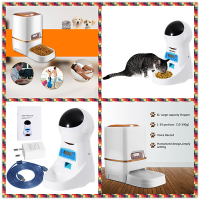 Automatic Pet Feeder Dog Cat Programmable Food Bowl Timer Dispenser LCD Display