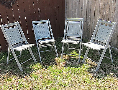 Vintage Shabby Chic Wooden Slat Back Folding Patio Lawn Chairs - PICK UP ONLY