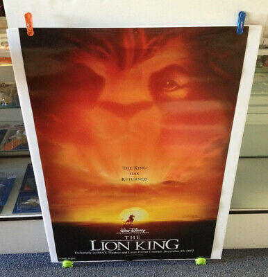 The Lion King Movie Poster 27x40 One Sheet **IMAX 2002 Walt Disney / Double Side