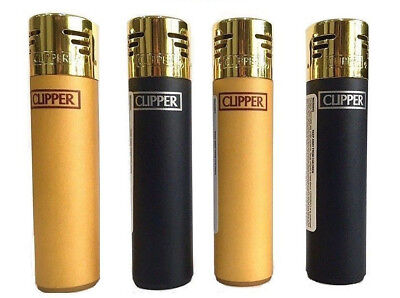 GOLD CAP SOFT TOUCH CLIPPER LIGHTERS Original Size Gas Refillable - Black / Gold