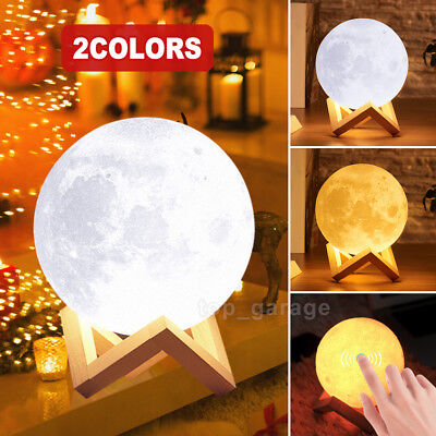 New 3D Printing Moon Lamp USB LED Night Light Moonlight Touch Color Changing US