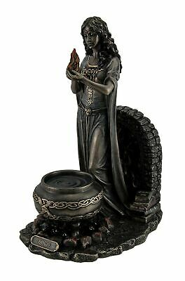 Resin Statues Brigid Goddess of Hearth & Home Standing Holding Sacred Flame S...