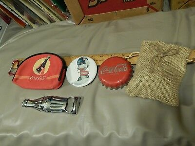 Coca-Cola ~ Coke Collection LOT ~ Zipper Coin Purse + Mirror + Bottle Opener +