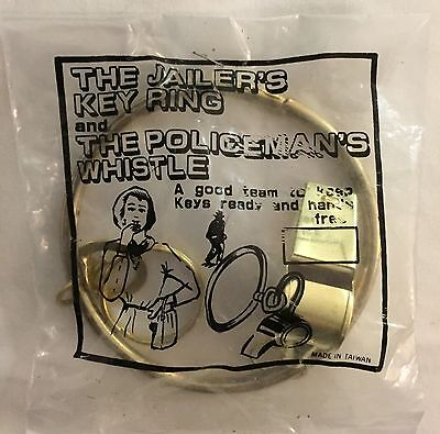 ☀1970's THE JAILER'S KEY RING☀& THE POLICEMAN'S WHISTLE SOLID BRASS w/PATINA