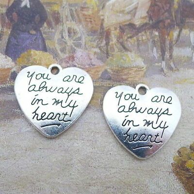 10pcs DIY Vintage Word Charms You Are Always In My Heart Bead Pendant 20x21mm