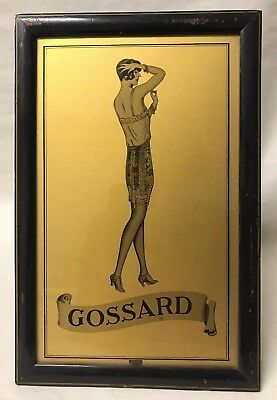 Rare Vintage Gossard Corsets Advertising Sign Reverse on Glass Counter Display