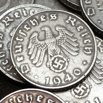Rare WW2 Nazi Germany 3rd Reich 5 Reichspfennig Swastika 5 Coin Lot Circulated