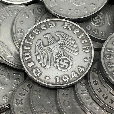 Rare WW2 Nazi Germany 3rd Reich 1 Reichspfennig Swastika 5 Coin Lot Circulated