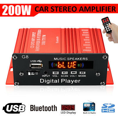 200W Car HIFI Audio Stereo Power Bluetooth Amplifier AMP FM Radio USB/TF/AUX