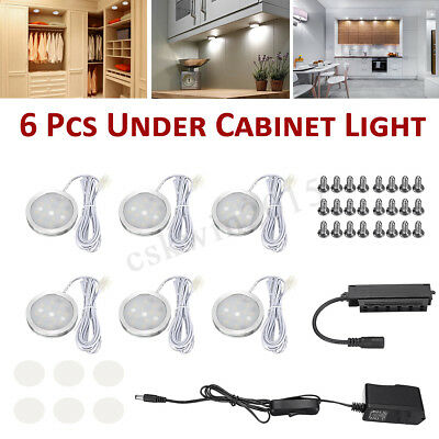 6 Round LED Puck Light Under Cabinet Lighting Kit Kitchen Shelf Lamp Counter