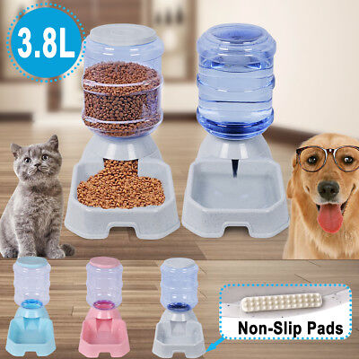 2 X 3.8L Automatic Pet Water Bowl Food Feeder Dispenser Dog Cat Self Feeder Bowl