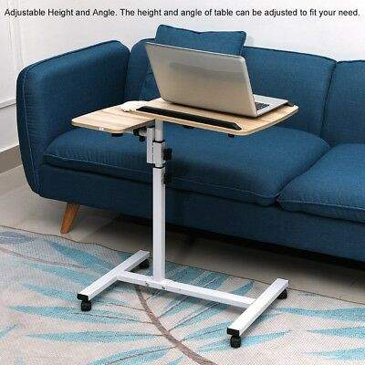 Mobile Laptop PC Computer Desk Office Stand Height Adjustable Work Table w/Wheel